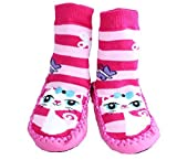 Baby Girl Toddlers Kids Indoor Slippers Shoes Socks Moccasins NON SKID PINK STRIPED KITTY CAT (9-18 MTHS)