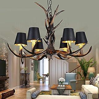 Vintage Style Harz Hirsch Horn Geweih Kronleuchter, 6 Lichter / Wohnzimmer  Beleuchtung Antler Lampe Restaurant