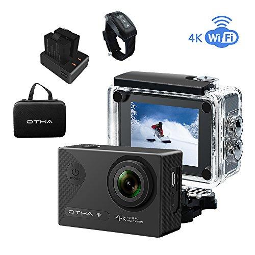 OTHA Action Kamera 4K Sports Camera Wasserdicht Wi-Fi 16MP 170 Weitwinkel Objektiv mit SONY Sensor Unterwasserkamera, Nachtsicht, Kabellose Fernbedienung, inklusive 2 Wiederaufladbaren Batterien (Schwarz)