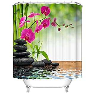 Waterproof Polyester Fabric Bathroom Shower Curtain, Qile Mildew-Resistant Anti-Bacterial 3D Digital Printing Pattern Shower Curtains with 12 Ring Hooks, 180 x180cm (Pink Moth orchid)