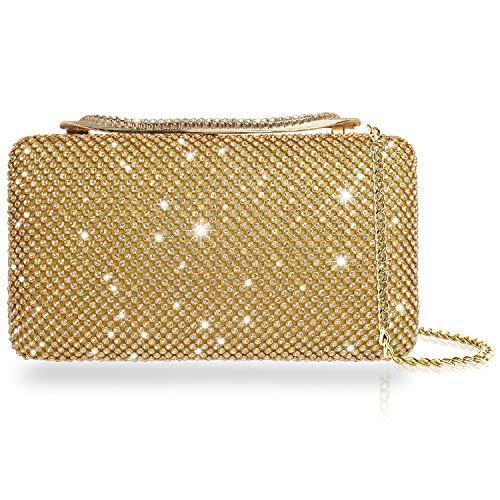 Borsa da sera con portamonete per borsa da donna con pochette da sposa con strass di cristallo scintillante (oro)