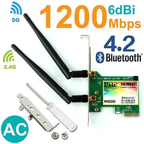 Ubit WLAN-Karte AC 1200 Mbit/s, Wireless Netzwerkkarte, 8260 Wireless Netzwerkkarte mit Bluetooth 4.2 Netzwerk-Server-Adapter, Dual-Band 5 G/2,4 G, PCI-E Wireless WI-FI Adapter Netzwerkkarte für PC