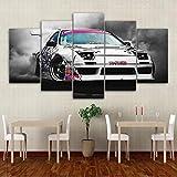 WWALL Leinwand Gemälde Wandkunst Modulare Bilder Moderne Hd Gedruckt 5 Stücke Japanischen Sportwagen Racing Rauch Poster Dekoration No Frame 40X60 40X80 40X100Cm