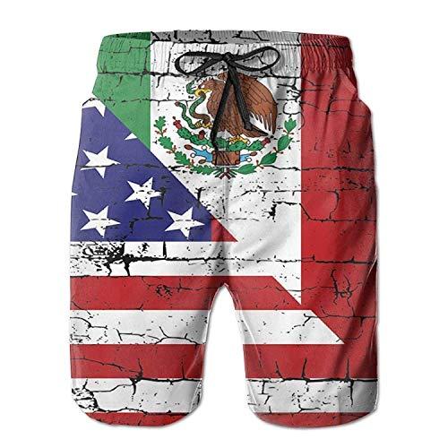 bbelieve Herren Sommer Strandhose Quick Dry Amerika und Mexiko Flagge Badehose Casual Shorts mit Taschen M
