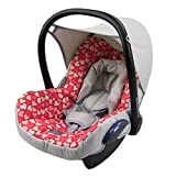 BAMBINIWELT Ersatzbezug für Maxi-Cosi CabrioFix 6-tlg., Bezug für Babyschale, Komplett-Set GRAU PINKE HERZEN *NEU*