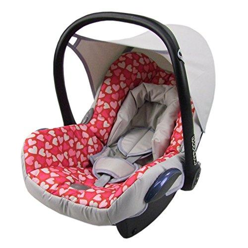 BAMBINIWELT Ersatzbezug für Maxi-Cosi CabrioFix 6-tlg, Bezug für Babyschale, Komplett-Set GRAU PINKE HERZEN *NEU* - Cabrio Herz
