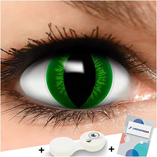 Farbige Kontaktlinsen Hulk in grün + Behälter - Top Linsenfinder Markenqualität, 1Paar (2 Stück)