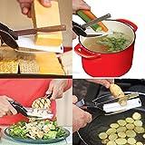 WELL BUY Clever Ciseaux de Cuisine/Coupe-légumes 2en 1, Couteaux pour Cuisiner, ustensile pour découper légumes, Fruits, oignons, fromages, Poulet, charcuterie et salades