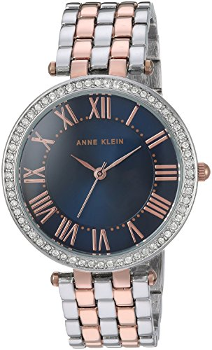Anne Klein Women's AK/2231NVRT Swarovski Crystal Accented Two-Tone Bracelet Watch