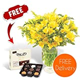 Gifts Flowers Food Best Deals - Fresh Flowers Delivered - Delivery Included - Yellow Guernsey Freesias Bouquet with Chocolates, Flower Food and Bonus Ebook Guide - Perfect for birthdays, anniversaries and thank you gifts