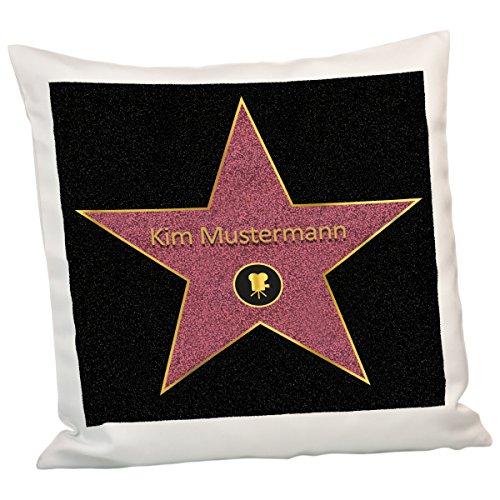 Geschenke 24: Kissen - Walk of Fame - Zierkissen mit Wunschname personalisiert - Hollywood Star of Fame