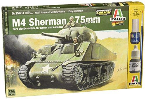 Carson 510015651 - 1:56/28 mm US Med M4 Sherman 75 mm, Panzer (Model Paint Kit Militär)