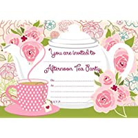 ABV Designs 10 x Afternoon Tea Birthday Party Invitations (with White envelopes)