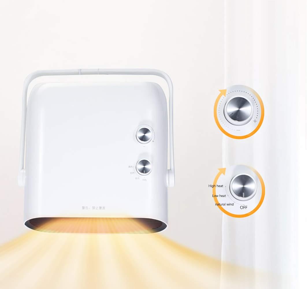 Calentador Espacial, Mini Ventilador Calefactor Personal, Viento Cálido / Natural Para Baño, Oficina Y Hogar, 3 Modos… 4