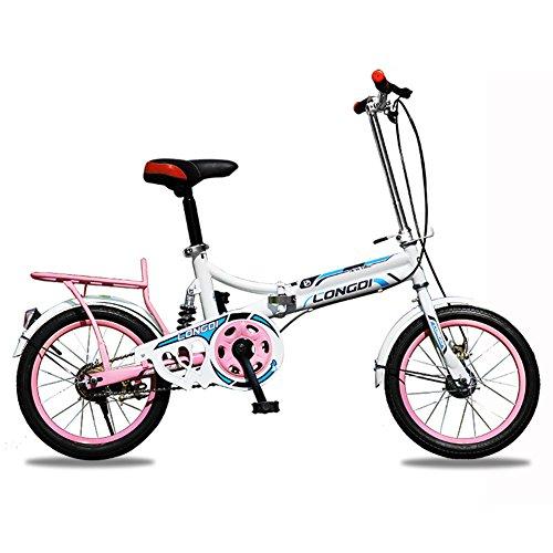 XQ 1613URE Bicicleta Plegable de 16 Pulgadas Adultos Bicicleta Plegable de Una Sola Velocidad de Ultraligero Amortiguación Hombres y Mujeres Estudiante Bicicleta de Los Niños (Color : White-Pink)