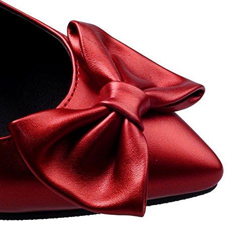 AgooLar Femme Tire Pu Cuir Pointu à Talon Haut Couleur Unie Chaussures Légeres Rouge