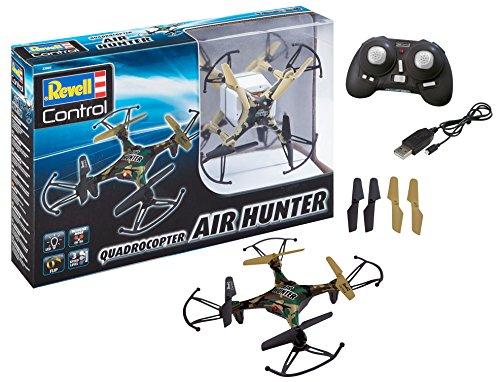 Revell Control 23860 RC Quadcopter Air Hunter, 2.4GHz, Akku, Flip-Funktion, Rotorschutz, LED, Headless-Mode, Geschwindigkeitsstufen, ferngesteuerter Quadrokopter, Camouflage-Design, 15,5 cm bunt