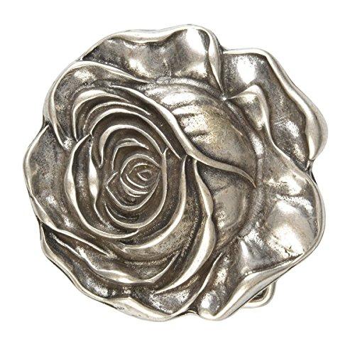 Gürtelschliesse für Wechselgürtel, Buckle, Gürtelschnalle, Wechselschliesse - Rose Silber 7 x 7,2 cm 40 mm Rose Gürtelschnalle