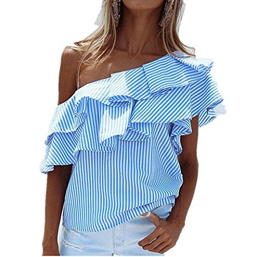 Bekleidung Longra Damen Hemd Mode Frauen lose One-Shoulder Streifen Muster Tops Bluse Shirt Sommer Casual T-shirt aus Baumwolle (L, Blue)