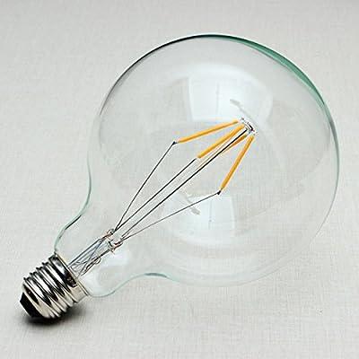 Splink LED Glühlampe Vintage Edison Glühbirne E27 G125 Globe Energiesparlampe 220V 4W Ersetzt 40W, 2700K, Warmweiss