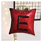#8: Mahalaxmi Craft Stylish Sequin Mermaid Throw Pillow Cover Design Decor Cushion Pillowcase Set Of 1 - (12X12 Inches) Black & Red