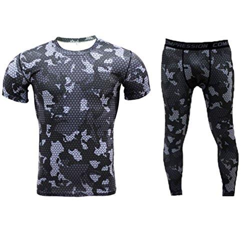 YiJee Herren Kurzarm T-Shirt Kompressionsshirt Base Layer Pants Set L