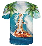 uideazone Unisex Sommer T-Shirts 3D Gedruckt Pizza Katze Palme T Shirts Tees Tops L