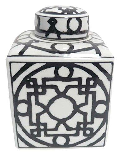 Gold Eagle USA vp997a4N.wh/bk 15,2cm quadratisch Asiatische Keramik Jar W/Deckel Asiatisches Bücherregal