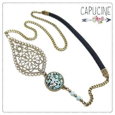Headband avec Cabochon Verre Fleurs Japon Bleu Noir et Blanc, Estampe et Chaîne Bronze, Accessoire Cheveux avec Élastique