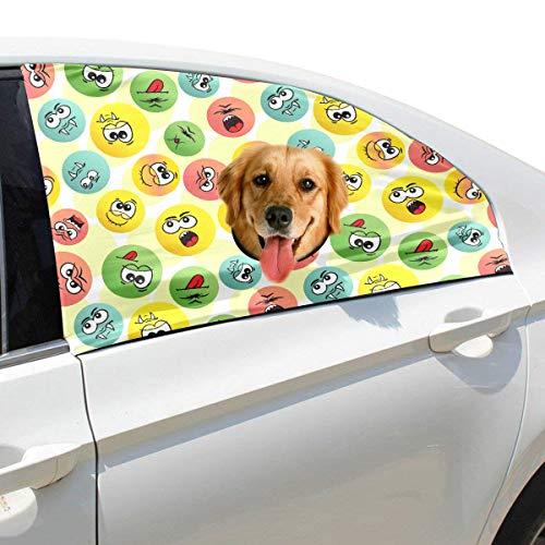Fröhliches Lächeln Gesichtsausdruck Emoji Faltbarer Hund Sicherheit Auto Gedruckt Fenster Zaun Vorhang Barrieren Protector Für Baby Kind Einstellbare Flexible Sonnenschutzabdeckung Universal Für SUV