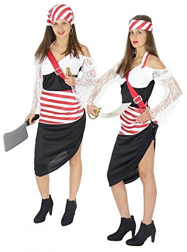 Sexy Piraten Kostüm für Damen Fasching Piratin Rock Frauen Karneval rot schwarz weiß Größe ()