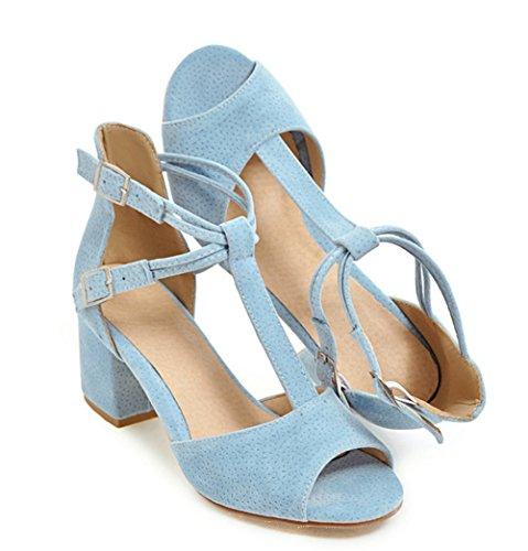 Aisun Damen Fashionable Nubukleder Peep-Toe T-Spange Sandalen Mit Schnalle Blau
