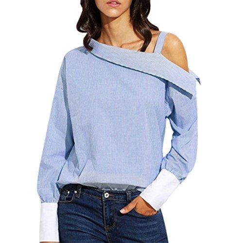 Damen Sommer Sexy T-Shirt Hemden , LILICAT Frauen Bluse Weg vom Schulter Lässige Tops Gestreift Asymmetrisch Falten Lange Ärmel Bekleidung (Blau, M)