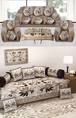 Vrinda home decor Luxury Diwan Set with 1 Bedsheet, 2 Booster Cover, 5 Cushion Cover, 1 Table Cover, 10 Sofa Cover