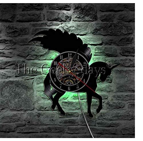 WJUNM 1 Flash-Wandkunst Silhouette Wanduhr beleuchtet, um Emblem Lampe Mädchen Höhle Teenager Geist zu Zeigen
