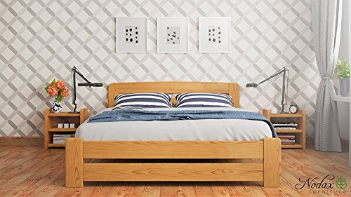 "New Double Solid Wooden Bedframe ""F1"" with slats (4ft6in, alder)"