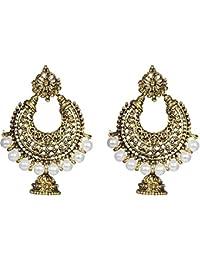 Rapidcostore Golden Alloy Jhumki Earring, Chandbali Earring, Tunnel Earring, Tassel Earring, Drop Earring, Hoop...