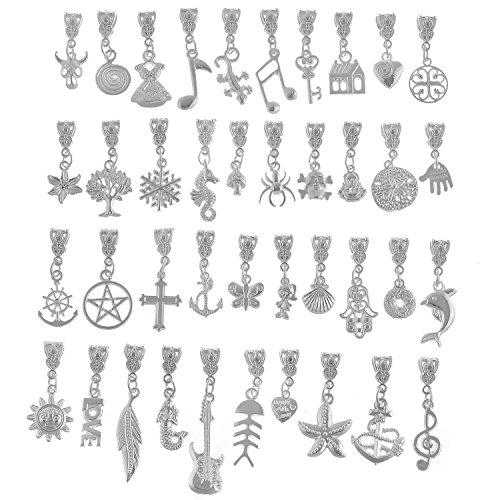 iß versilbert Metall Stecker Bails Mix Bead Anhänger Charm Armband, metall, Mix 102, 40 PCS (Anhänger Bails)