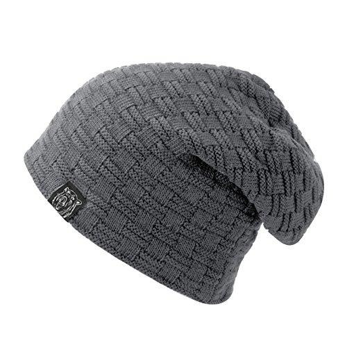 Yidarton Unisex Beanie Acryl Knit überlange Winter Skimütze gerippt Mütze Cap Beany (Grau)