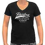 RACEFOXX V-Neck T-Shirt LADIES schwarz, Druck weiss, Größe L