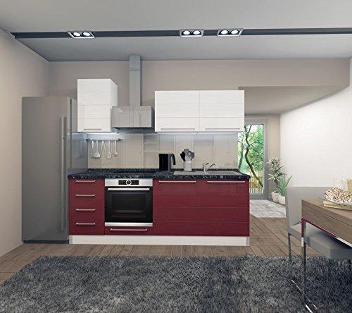 Küchenzeile/Küchenblock Fagali 05, 7-teilig, Farbe: Weiß Hochglanz/Bordeaux Hochglanz