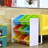 HOMFA Kinder Aufbewahrungsregal Kinderregal Spielzeugregal Spielzeugkiste Kommode mit 9 Kunststoffkästen für Spielzeug und Bücher Multi Toy Organizer 65*26.5*60cm - 5