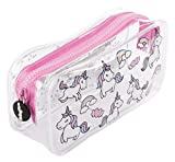 FRINGOO - Trousse souple transparente - Papeterie - Grande pochette - Cadeau pour adolescents  Large Unicorns & Rainbows