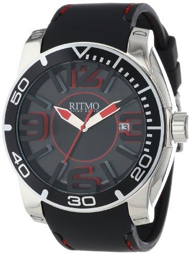 Ritmo Mundo Unisex 711/1 SS Black Apollo Sport Quartz Three Hand Oversized Index Markers Watch
