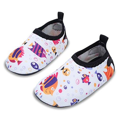 JIASUQI Baby Outdoor und Indoor Fashion Casual Wasser Haut Schuhe Socken für Strand Sand Swim Surf, Weißer Fisch 18-24 Monate (Herstellergröße : 21/22)