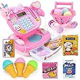 PUDDINGT® Kinder-Registrierkasse Pretend Play Supermarkt-Shop, bis Toy Food Spiel mit Arbeitsrechner Spielt,Pink