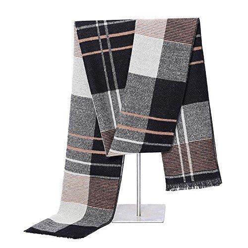 YANXH Männer Schal Die neue Herbst und Winter Baumwolle Verdickung warme Gitter Schal , long 180cm wide 30cm (Ringe Schmuck Lila Schal Box)