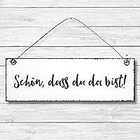 Schön, dass du da bist - Dekoschild Türschild Wandschild aus Holz 10x30cm - Holzdeko Holzbild Deko Schild zur Dekoration Zuhause im Büro auch perfekt als Geschenk Mitbringsel zum Geburtstag Hochzeit Weihnachten für Familie Freundin Mutter Schwester Tochter