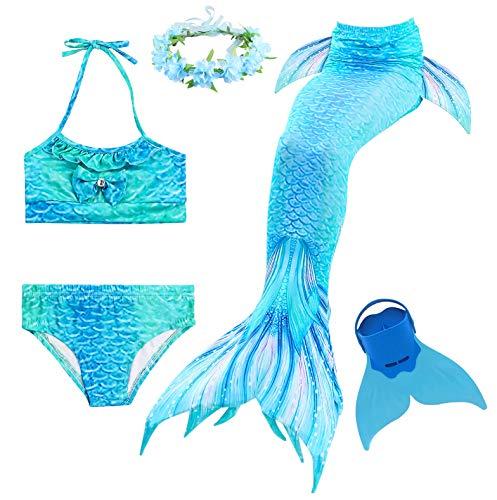 Romance Zone Cola de Sirena para Natación 5pcs Traje de Baño Mermaid Bikini Establece Disfraz de Sirena...