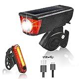 Estela Fahrradbeleuchtung, Wasserdicht Fahrradlampe Set USB Wiederaufladbare LED Fahrradlicht Set Frontlicht und Rücklicht Für Fahrrad Batteriebetriebene Fahrradlampe